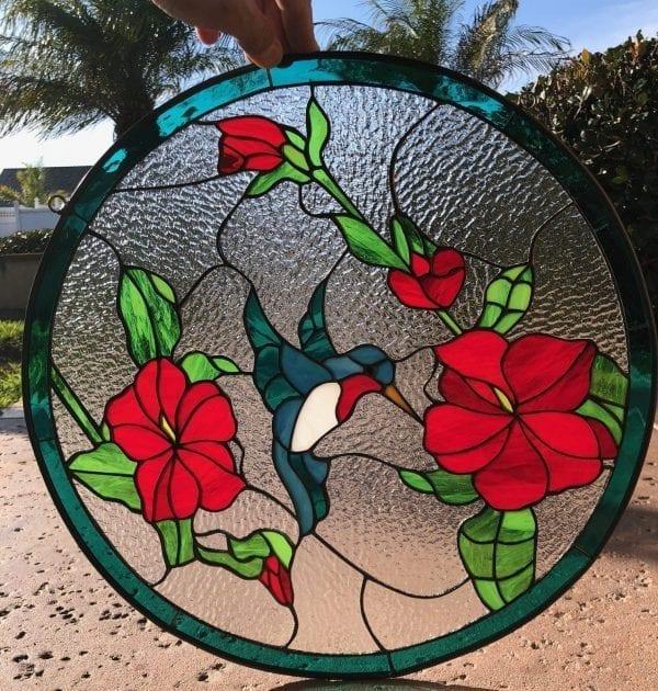 Pretty! Hummingbird & Hibiscus Stained Glass Window Panel