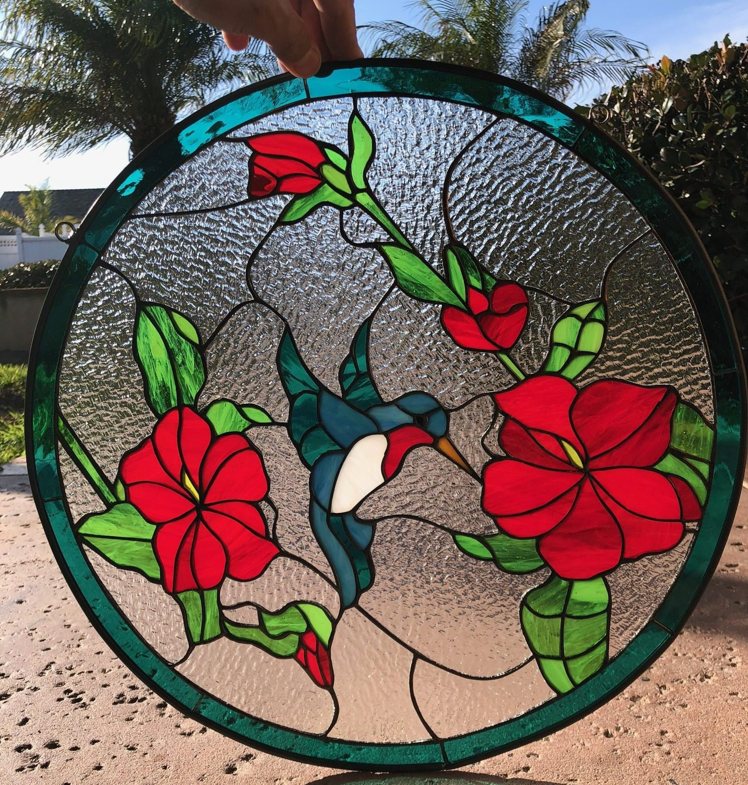 Humming Bird Stained Glass Window Panel Hand Painted