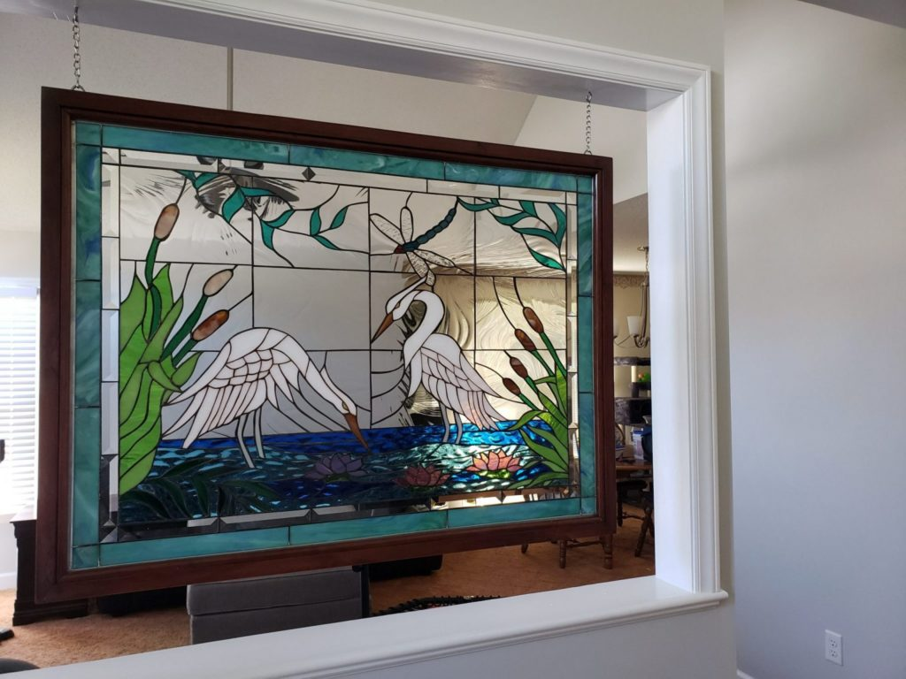 Heron design Stained Glass hang