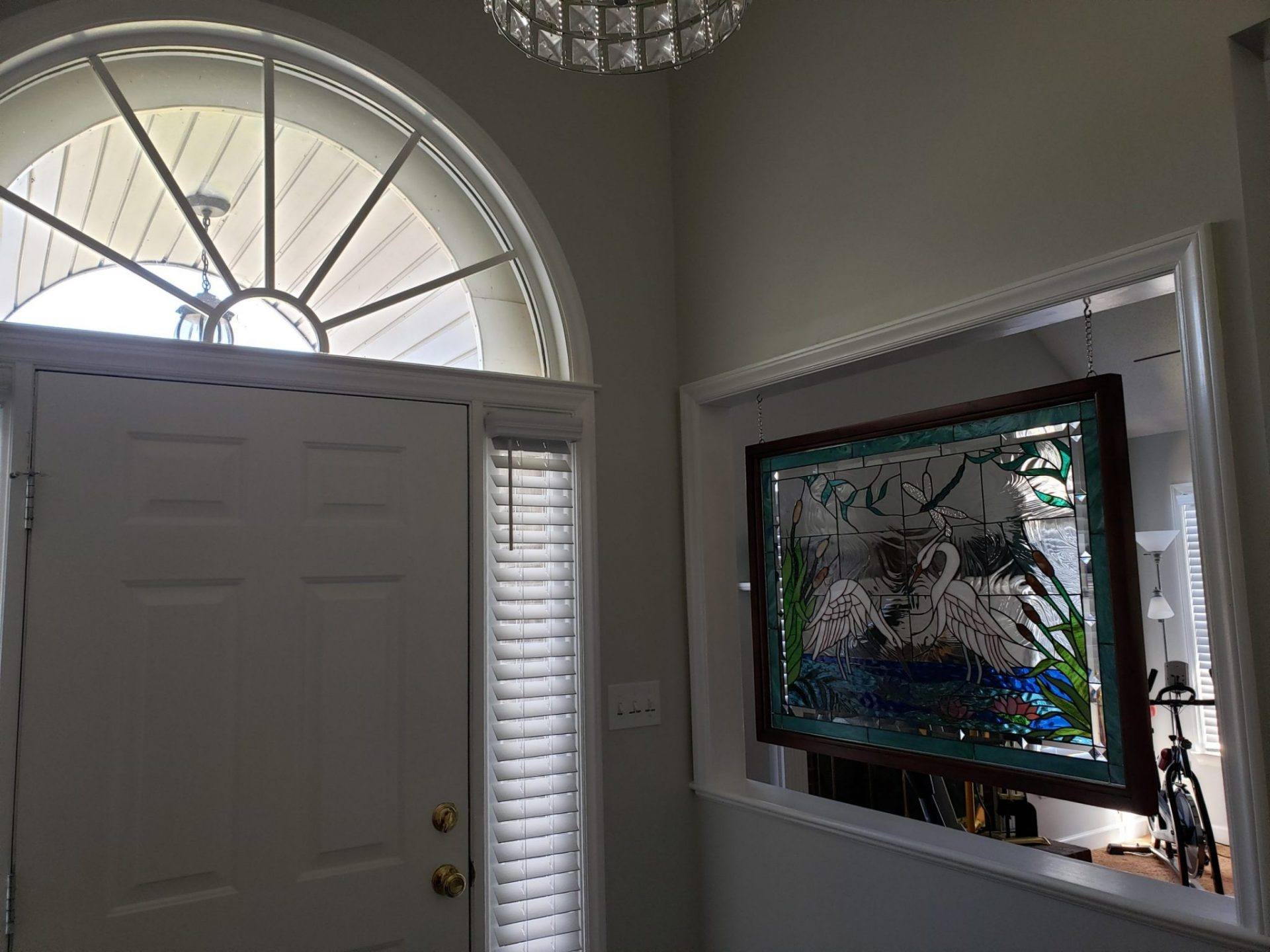 Stained Glass Heron design Entryway