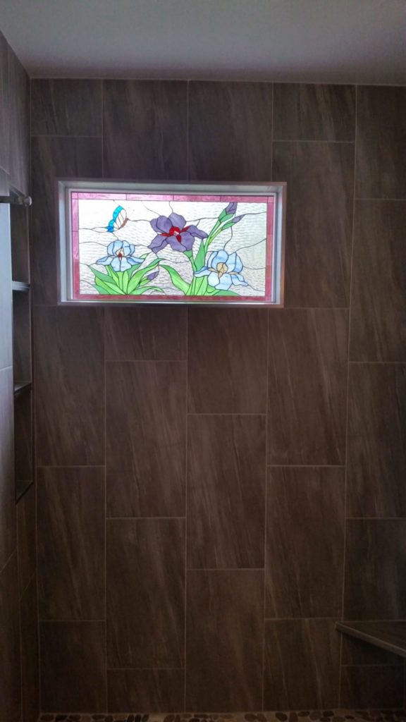 Iris Pattern used in a Shower Area Window