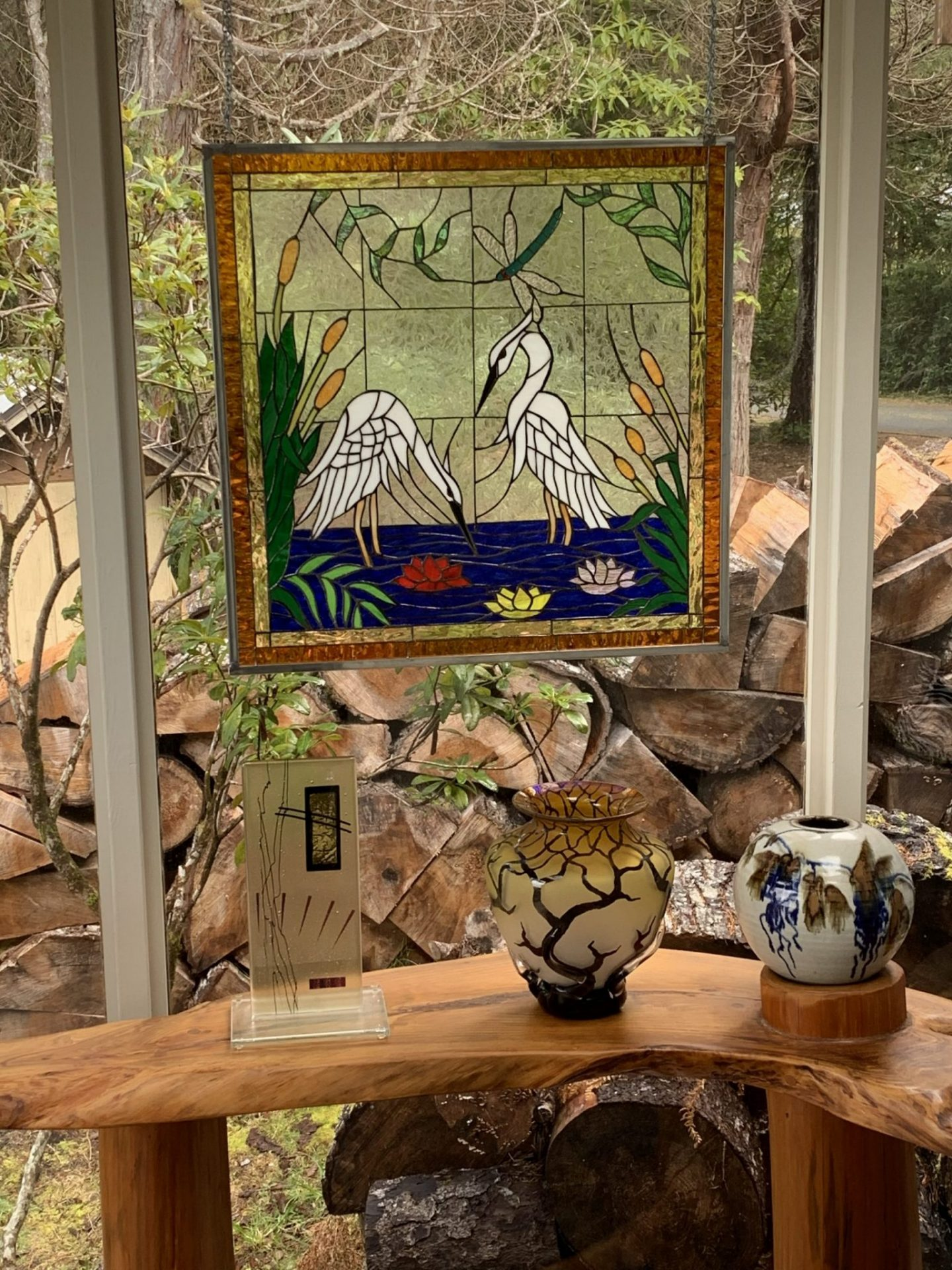 Egret Pattern Hung with Chains and hooks
