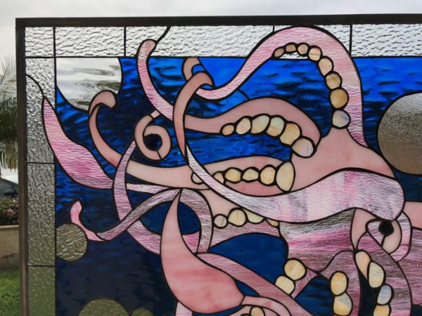 Majestic Pink Squid Stained Glass Window