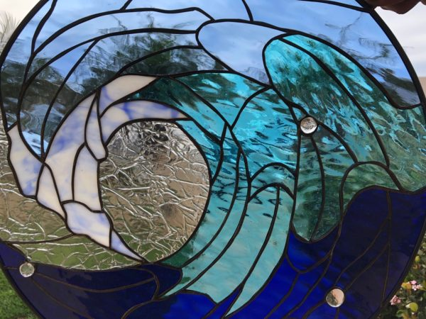 """The """"Blue Room """" Cresting Wave Stained Glass Window"""