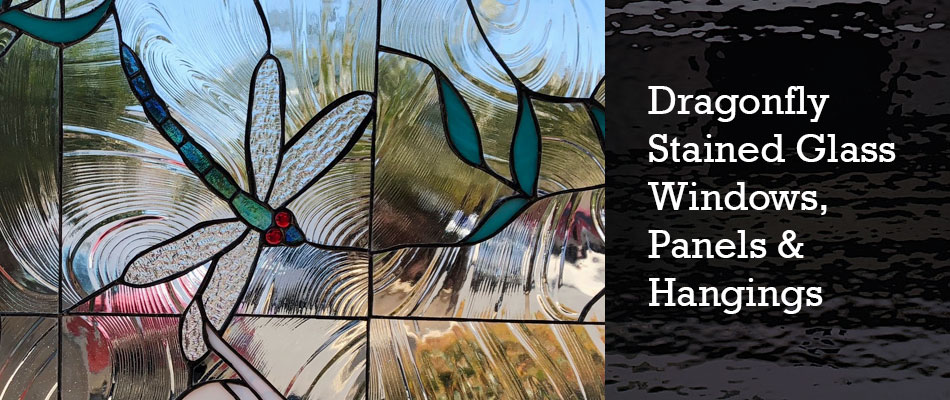 Dragonfly Stained Glass Window Panel hand painted