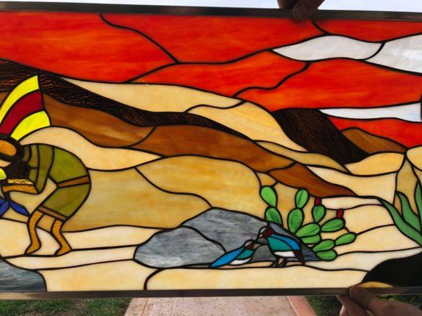 Vibrant Southwestern Kokopelli & Quail Stained Glass Window