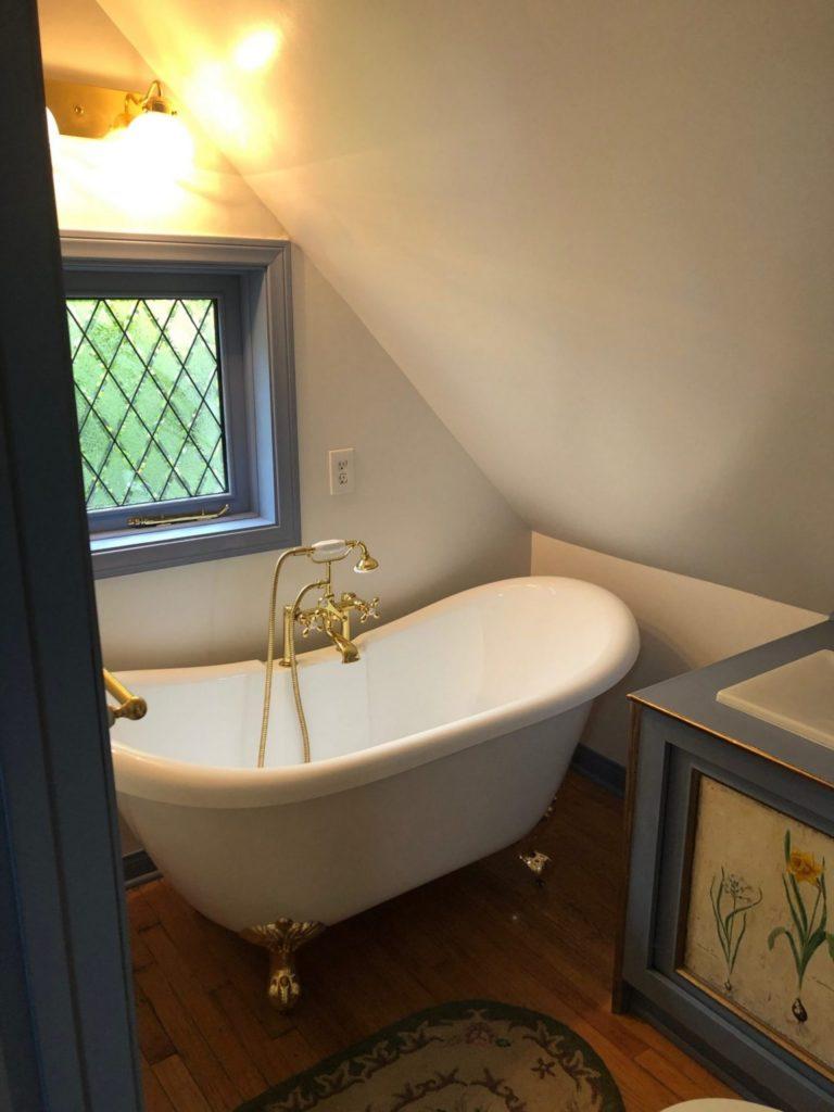Tudor Style Window Installed over a Bathtub