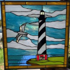 Ready to Ship! 17 .5-in wide x 18-in High Cape Hatteras lighthouse Stained Glass
