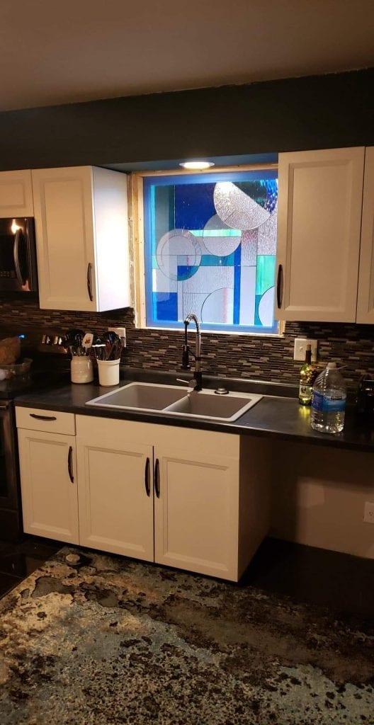Blue Geometric Window Installed in a Kitchen