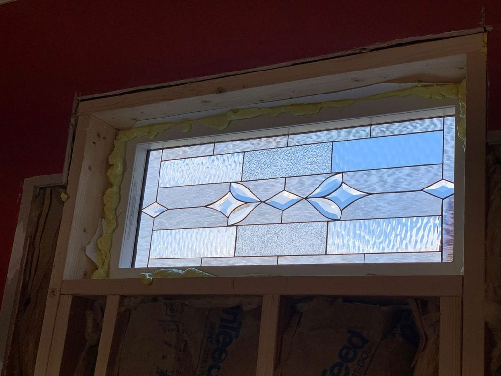 Beautiful All Clear Beveled Window installed in a Bath