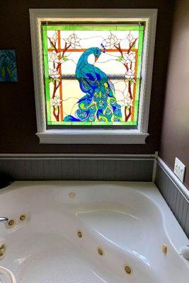 stained-glass bathtub windows