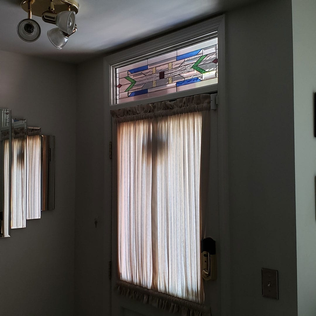 Mission Style Matching Door and Transom Inserts For Entryway