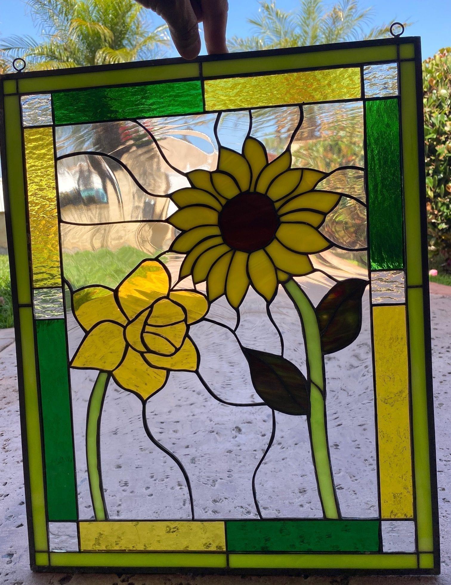 Beautiful!  Sunflower  Magnolia Stained Glass Window
