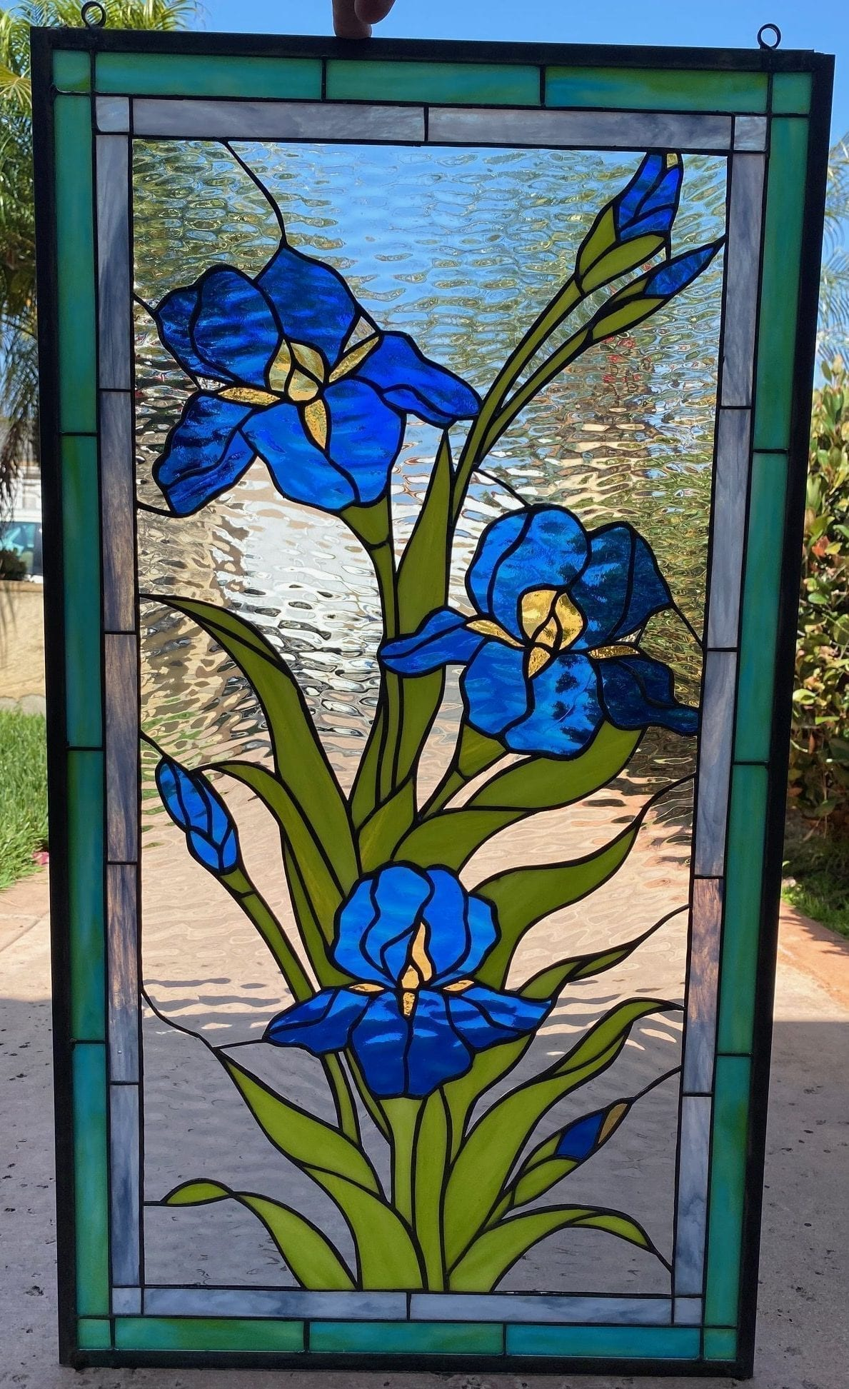 Lovely! Iris Trio with Waterglass Stained Glass Window