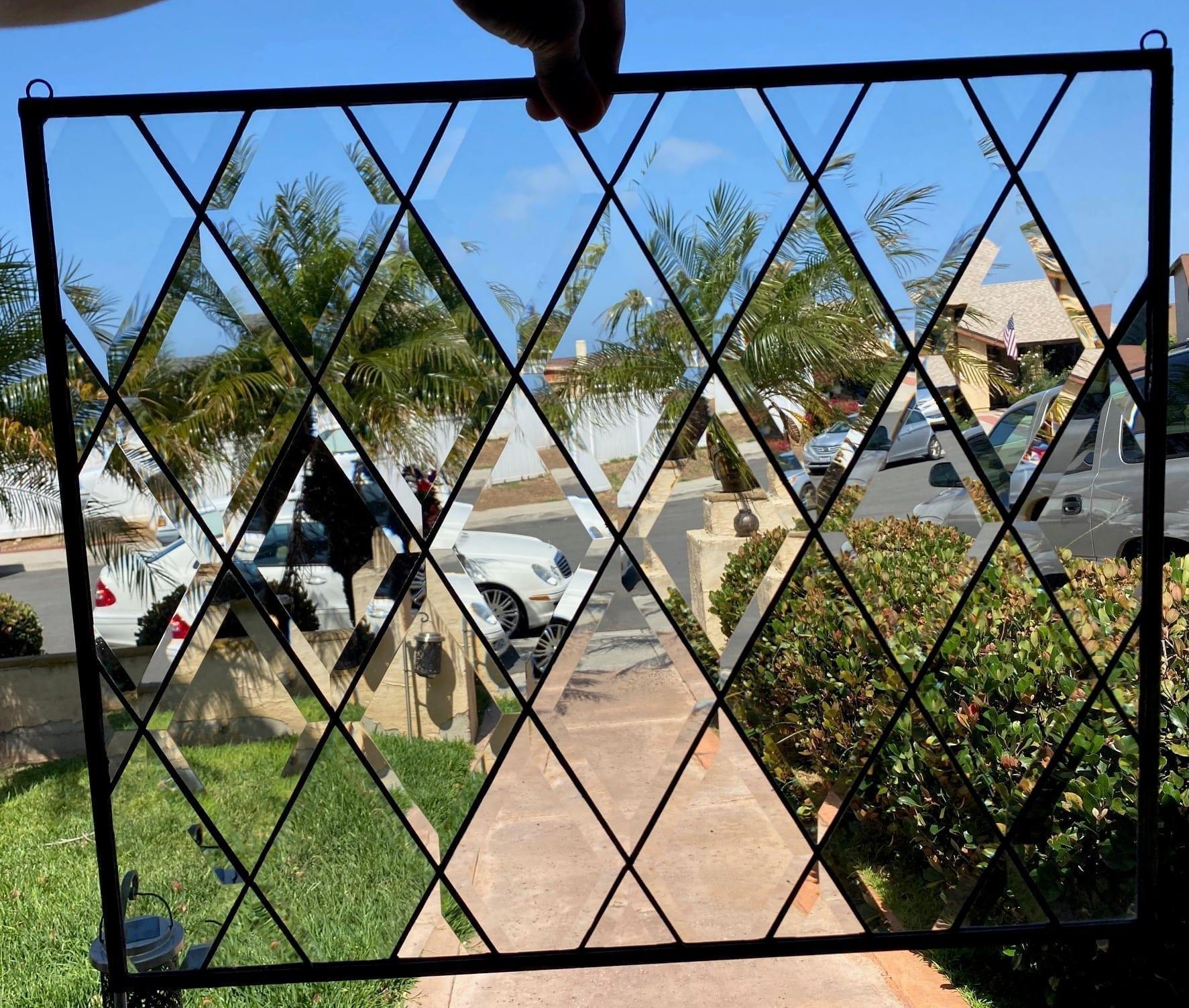 Classic! Tudor Style Beveled Diamonds Stained Glass Window