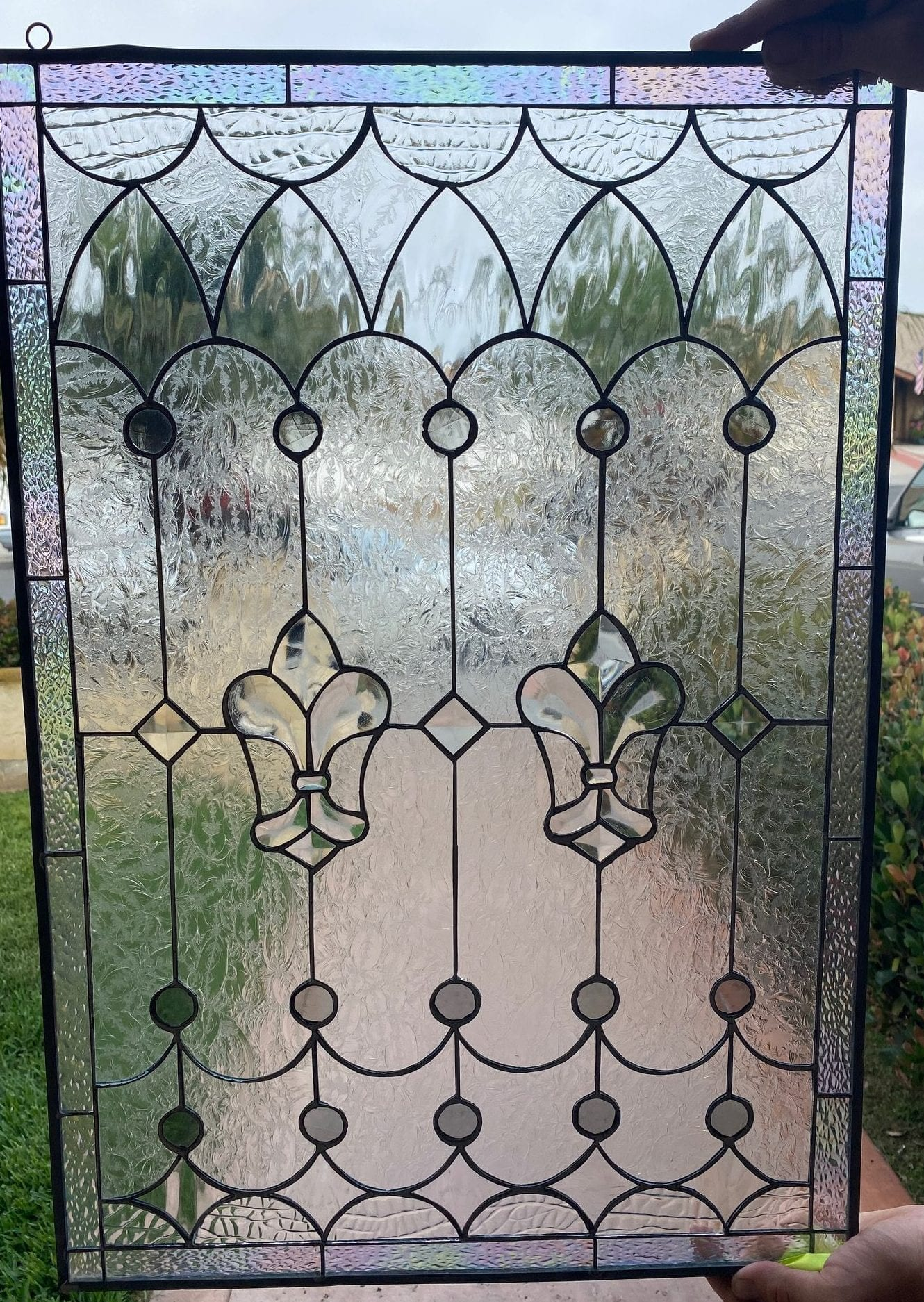 Traditional Fleur De Lis Stained Beveled Glass Window