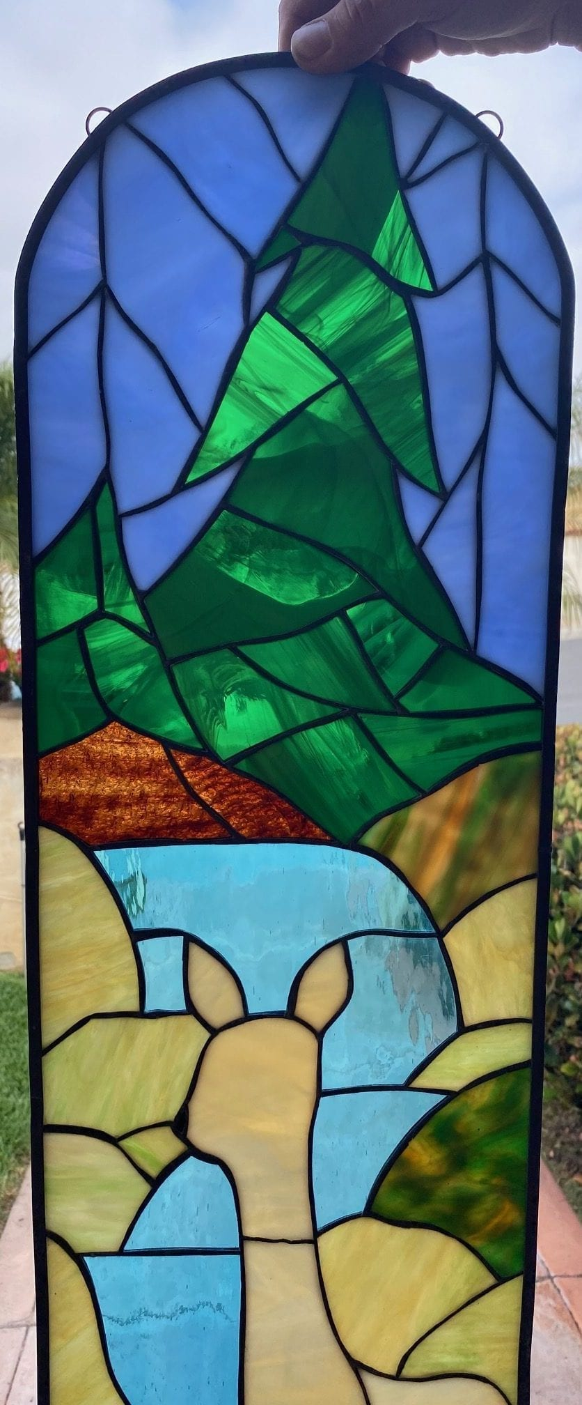 Calming! Deer, Stream Pine Tree Arched Stained Glass Panel