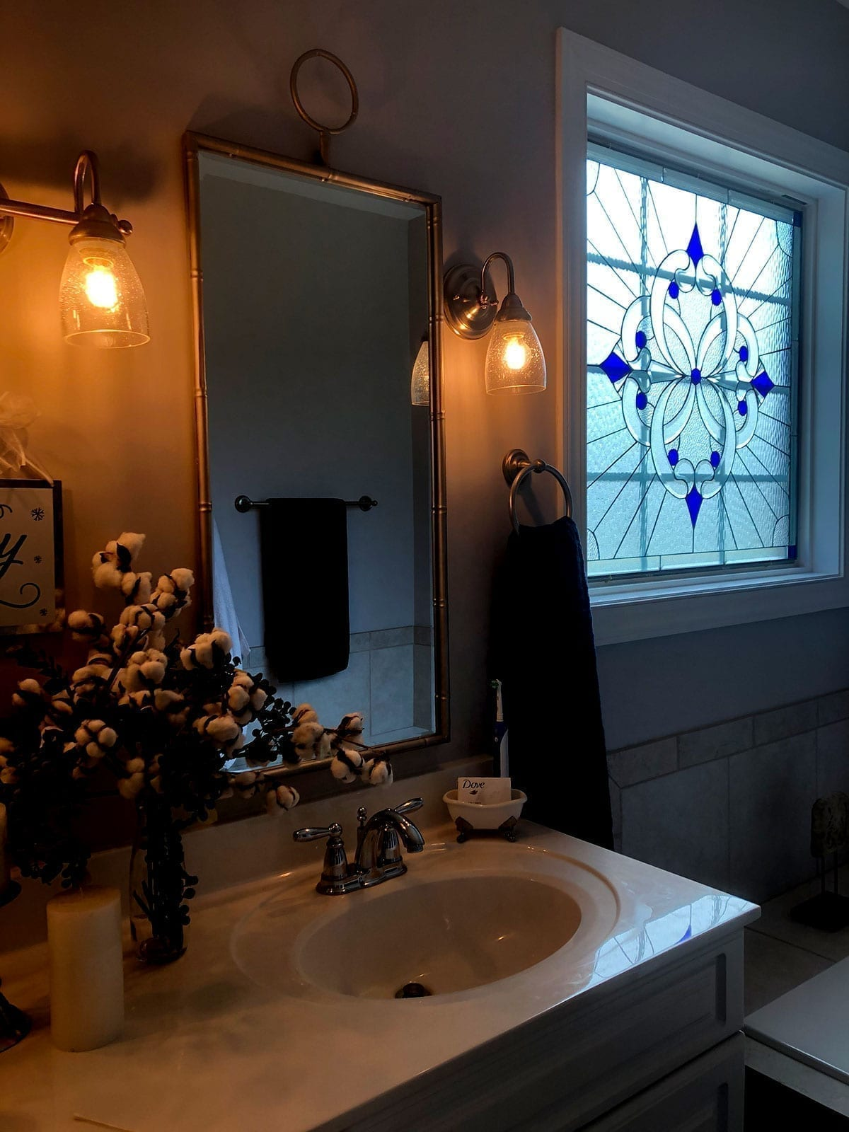 Stained Glass Bathroom Window installed in Hampstead NC