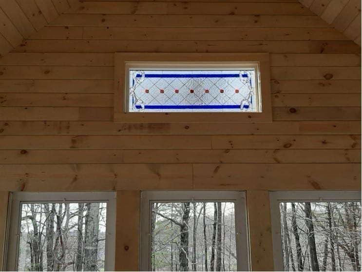 """The """"Diamond & Jewels """" Mission Beveled Stained Glass Transom window installed"""