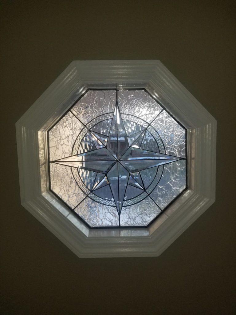 "The Elegant Maywood"" Beveled Leaded Octagon Shaped Stained Glass Window"