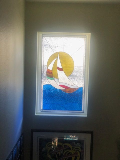 sailboat Sunset Seascape Stained Glass Window