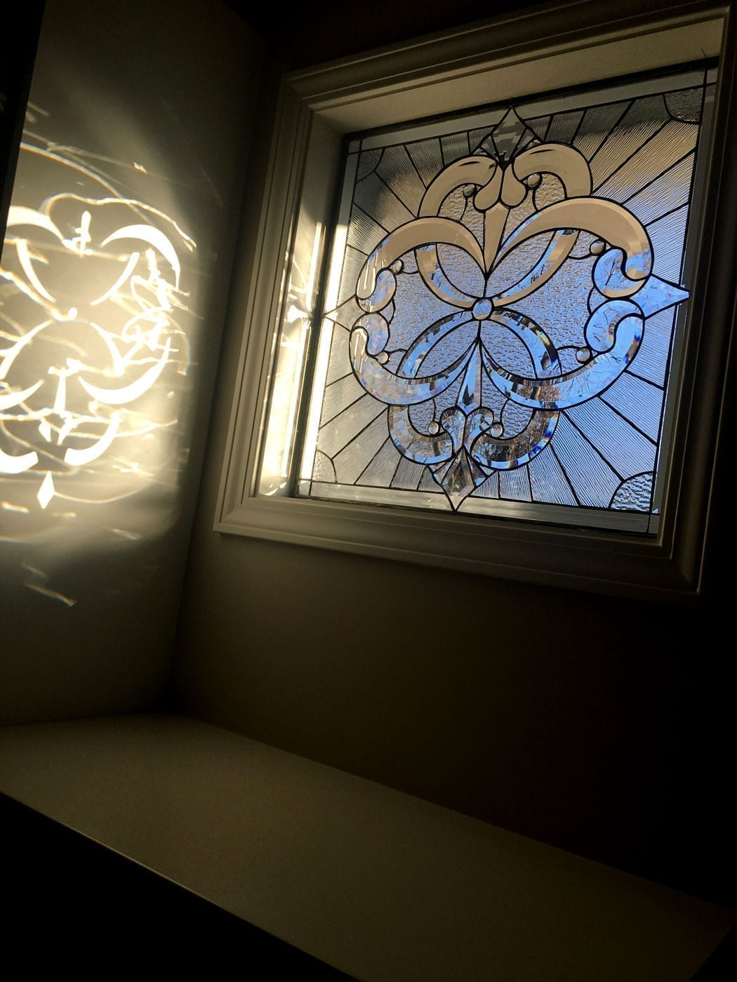 Pacifica Style Stained Glass Window Installed, minimal installation