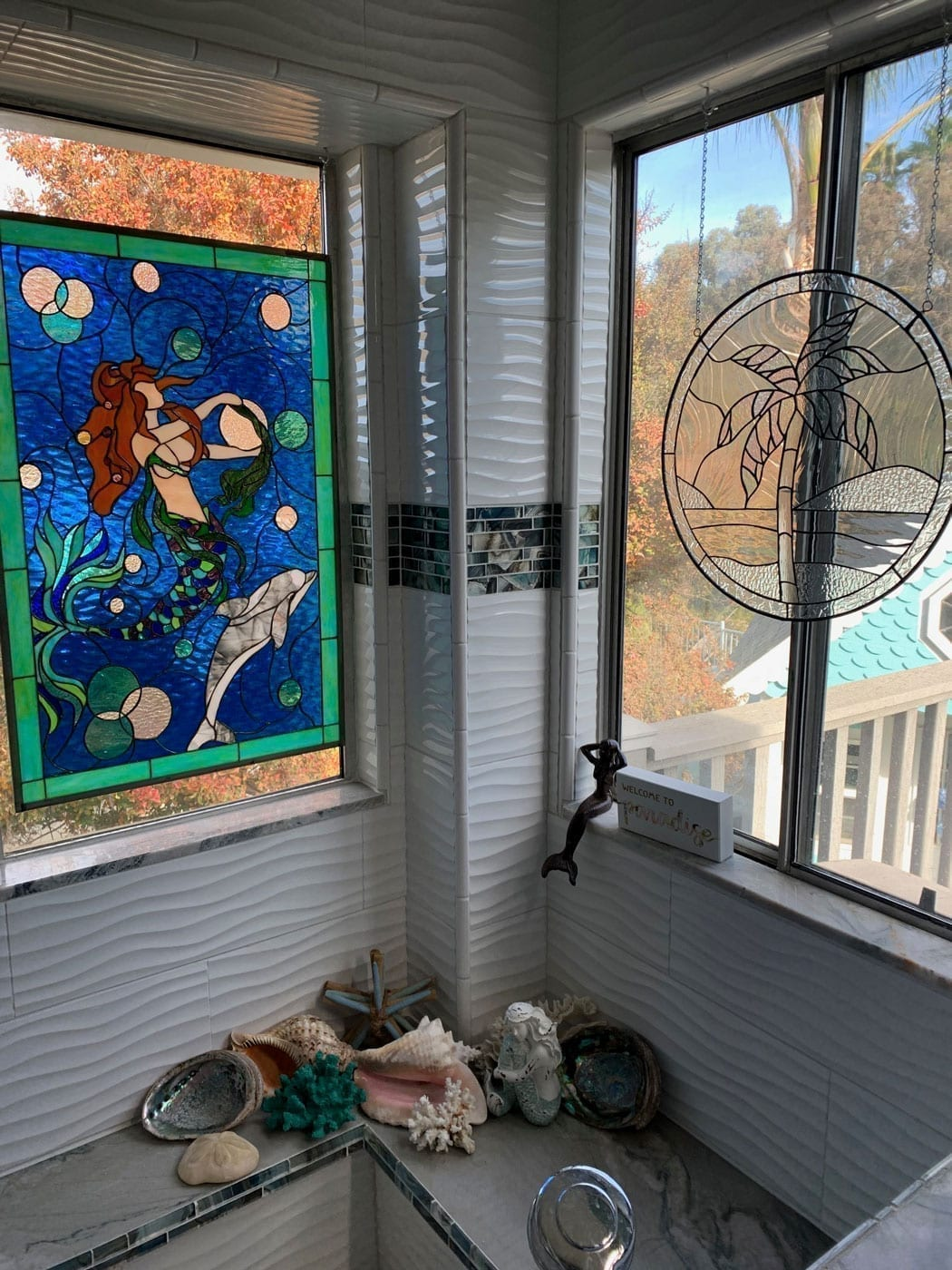 Mystical Mermaid & Dolphin Stained Glass Window minimal install