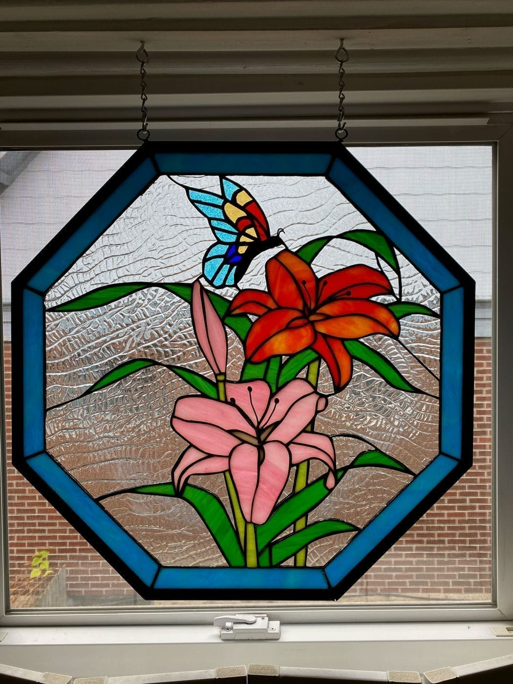 Lilies & Butterfly Octagon Stained Glass Panel