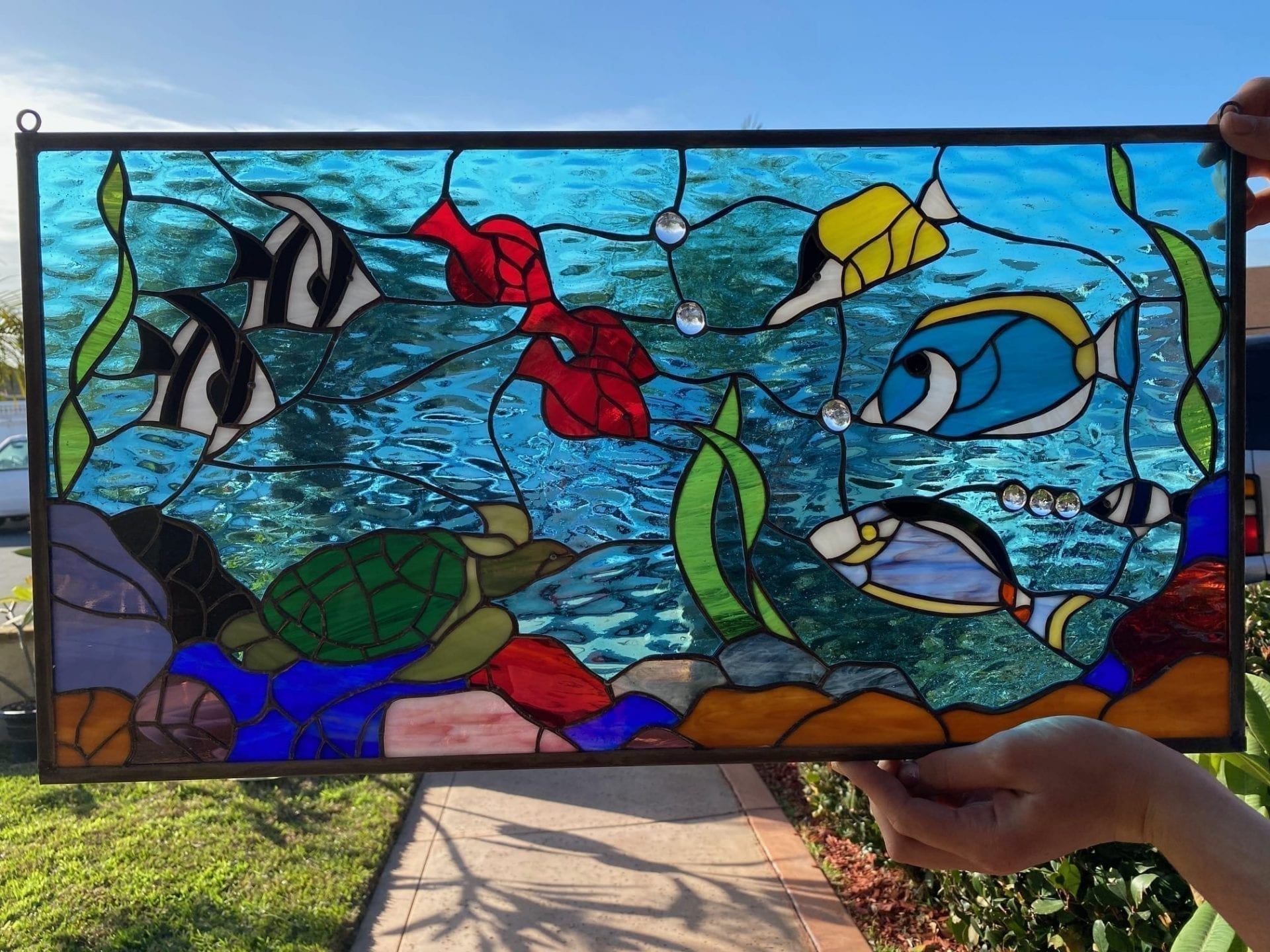 Vibrant! Turtle, Triggerfish and Coral Sea Life Stained Glass Window