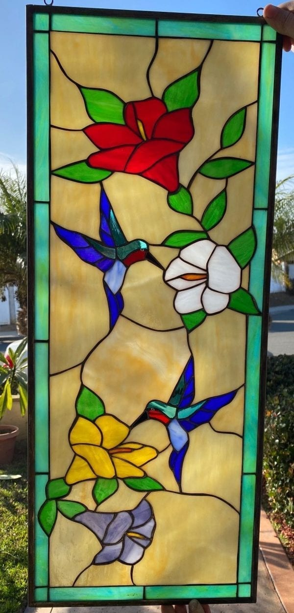 Elegant Hummingbird & Flower Stained Glass Window