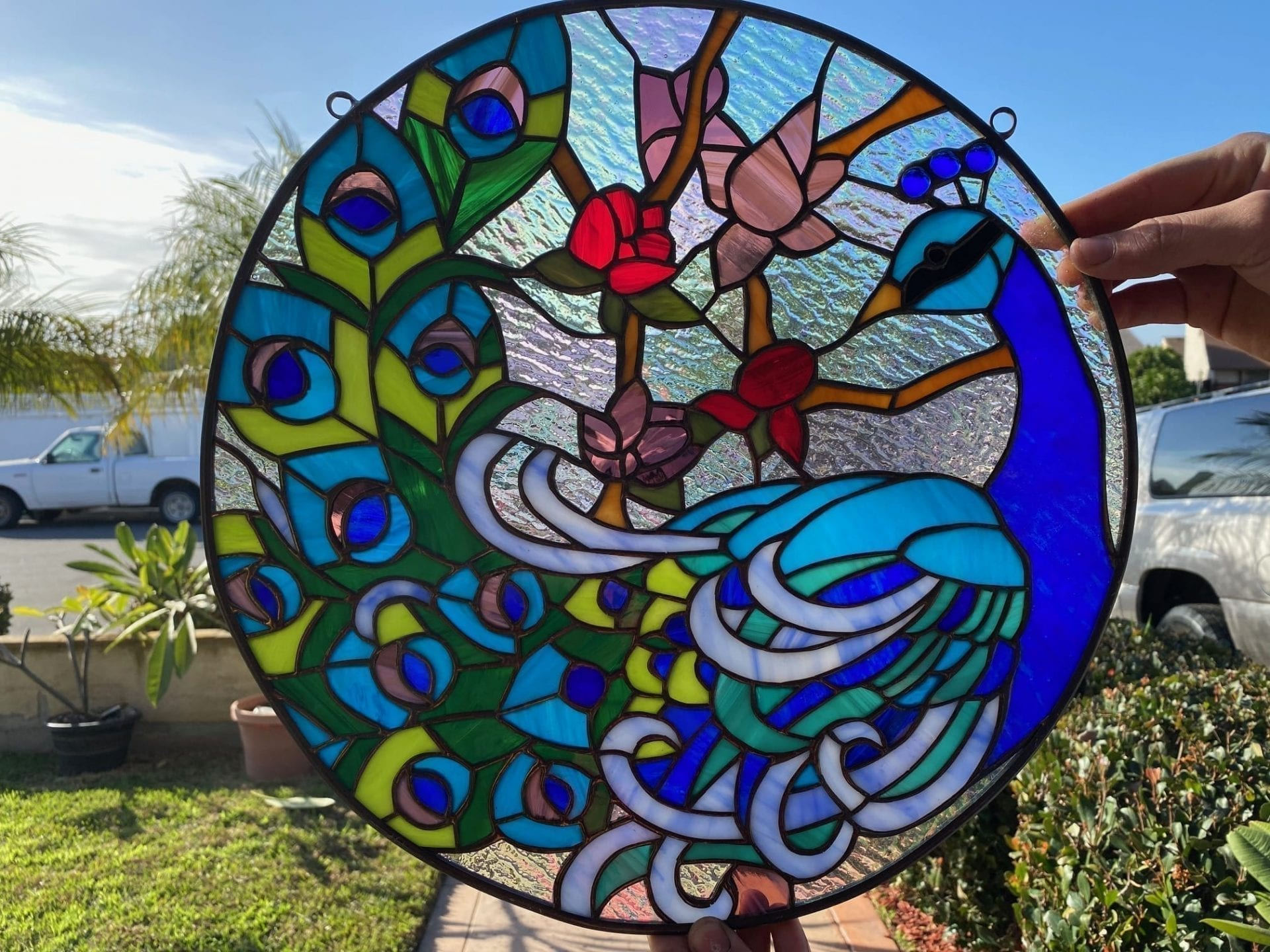 Colorful!   Peacock Stained Glass Window Panel