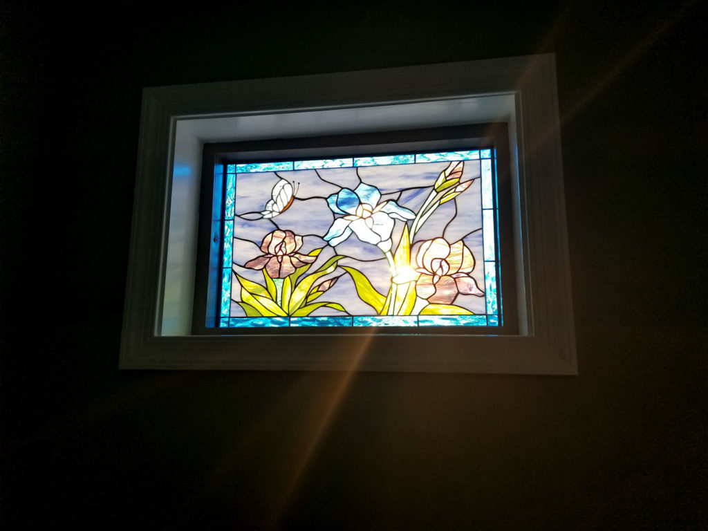 lilies and butterfly Stained Glass Window