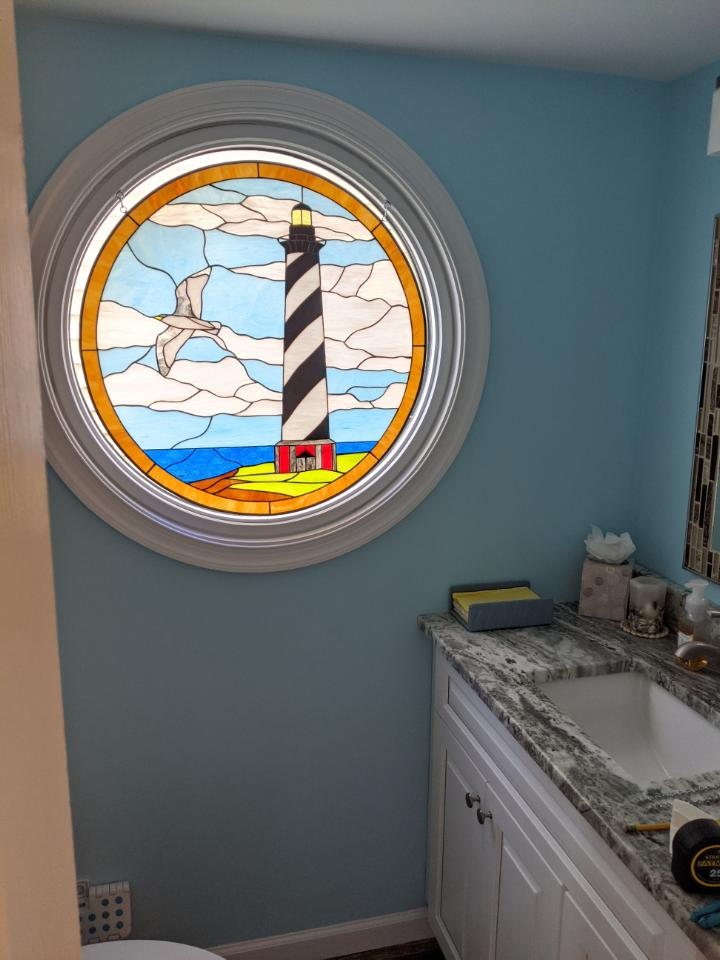 Lighthouse Stained Glass installed photos