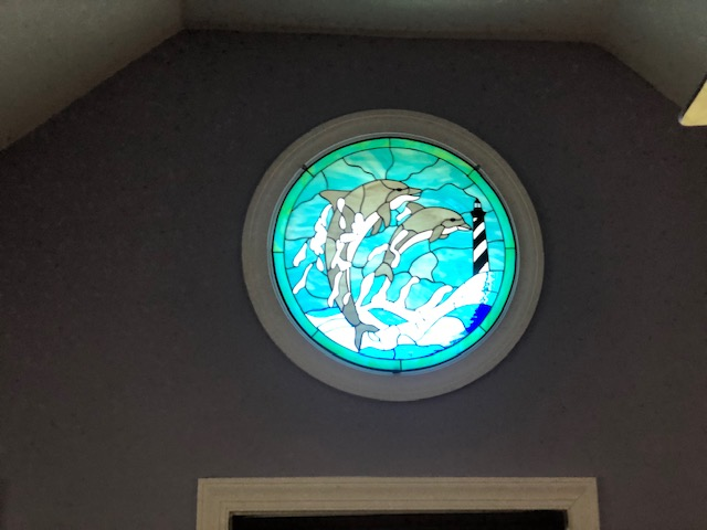 Dolphins and lighthouse Rounded Stained Glass Window