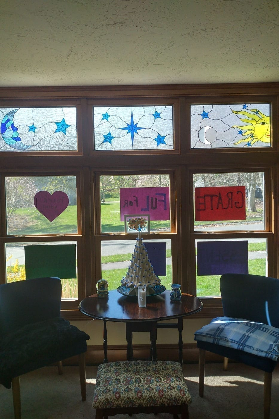 Moon Stars and Sun Stained Glass Window Transom