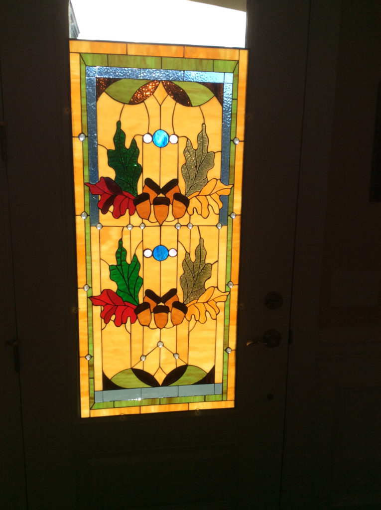 Acorn Stained Glass Window Installed