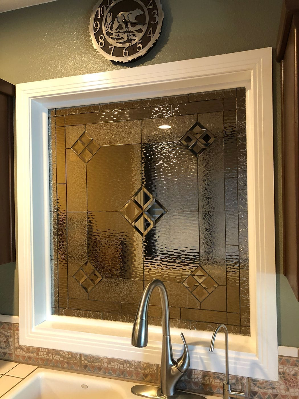 Glue Chip Glass Stained Glass Window installed in a Kitchen
