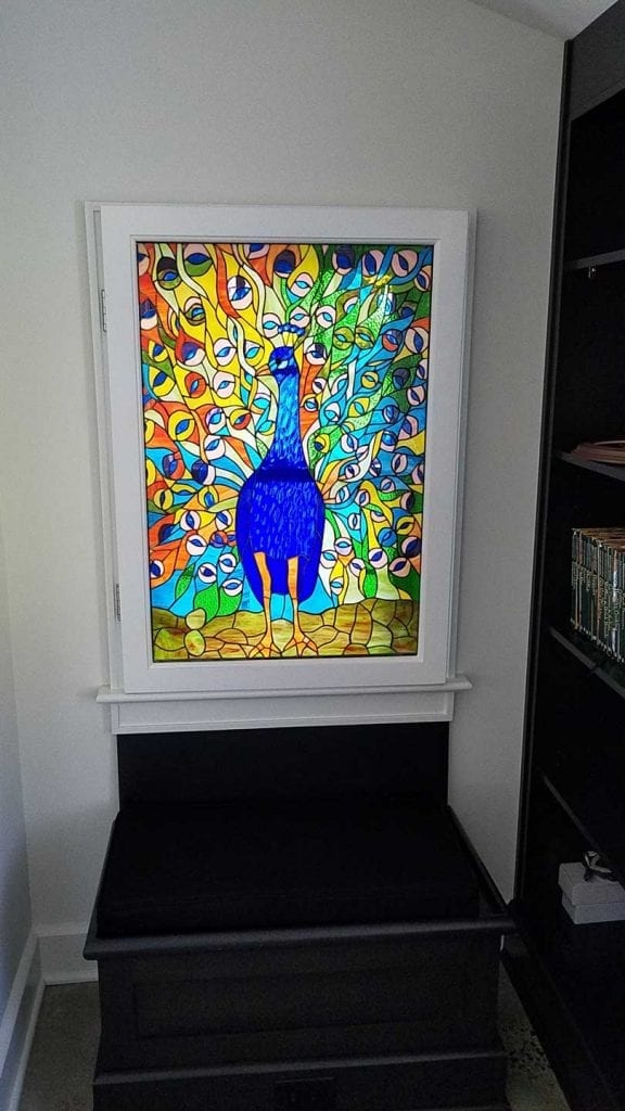 Beautiful Peacock Stained Glass Window