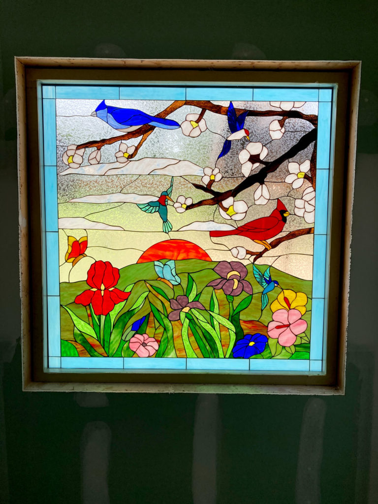 Birds and Sunset Stained Glass Window
