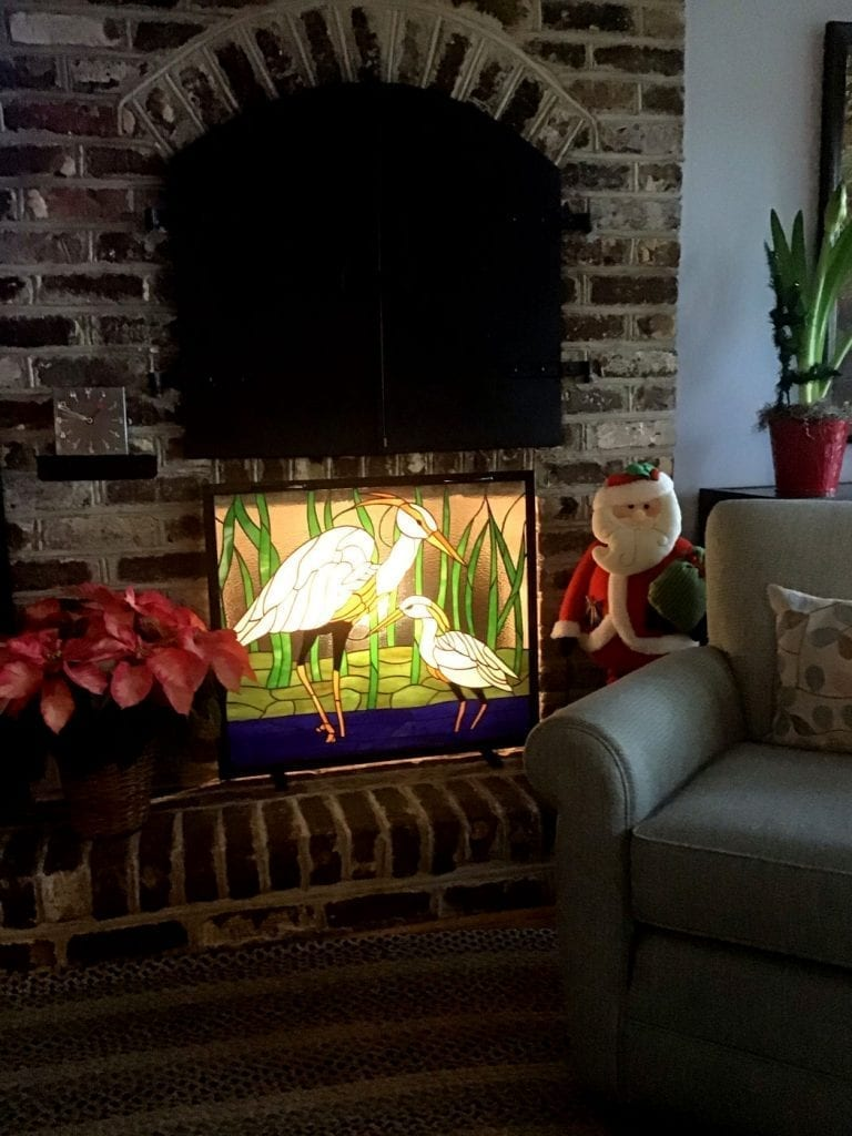 Artificially illuminated Egret Stained Glass Window panel