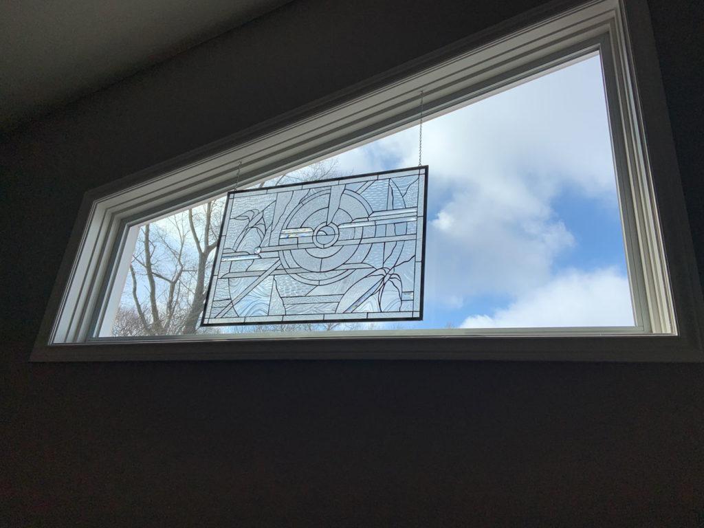 Elegant Clear Stained Glass skylight side window