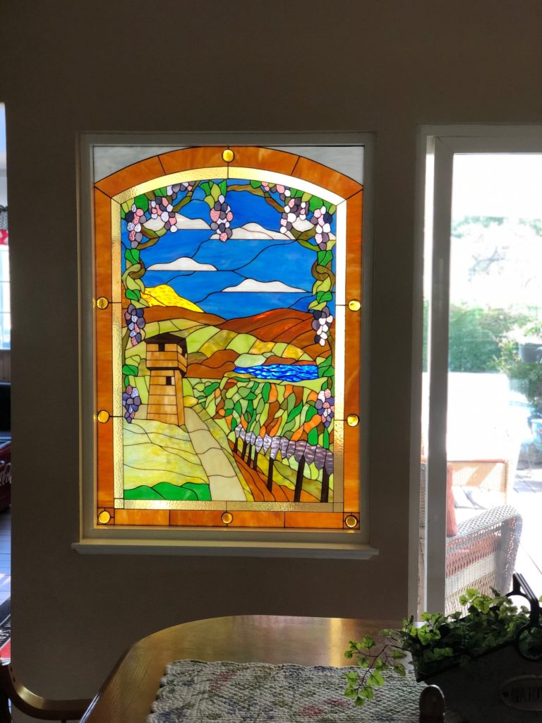 Beautiful Stained Glass installed in a dining room