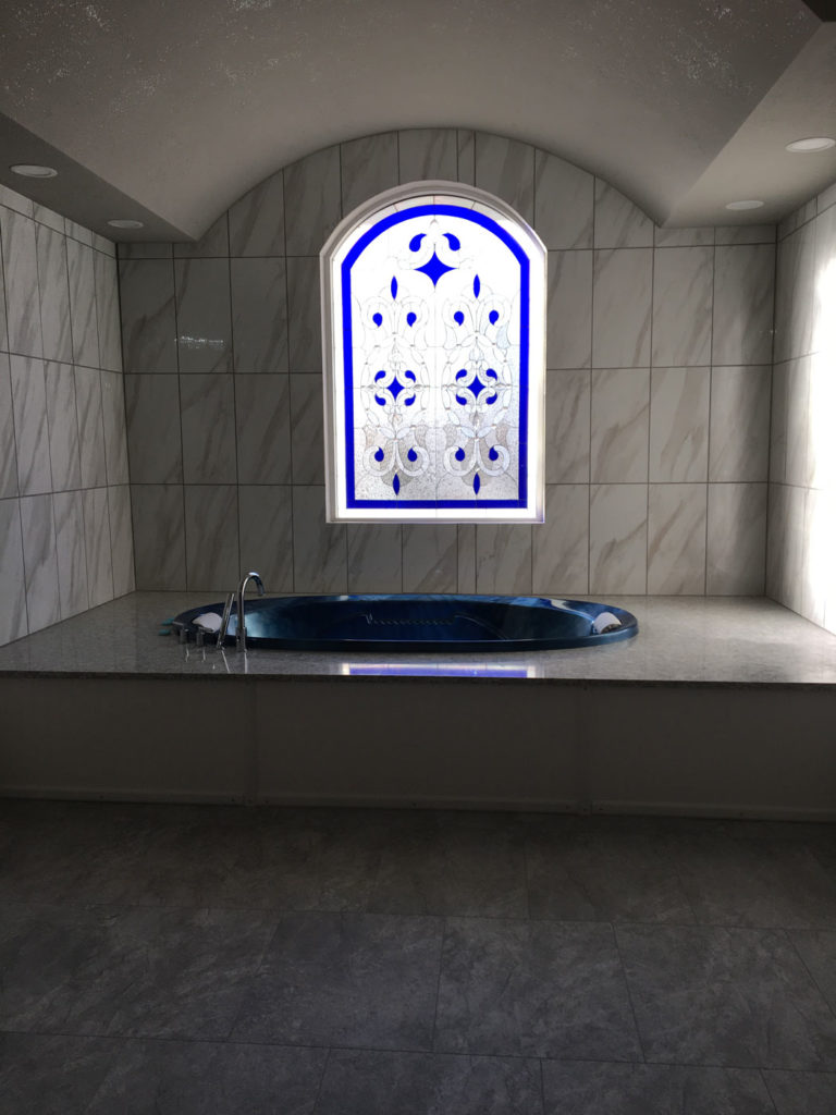 Arched top Stained Glas Window using white background glass for total privacy