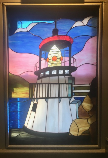 Minimal install Lighthouse Stained Glass window
