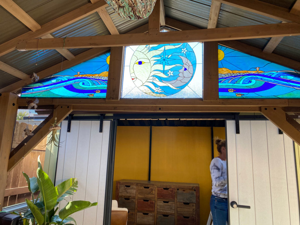 Before and After Beautiful Beach Sun and moon Transom windows