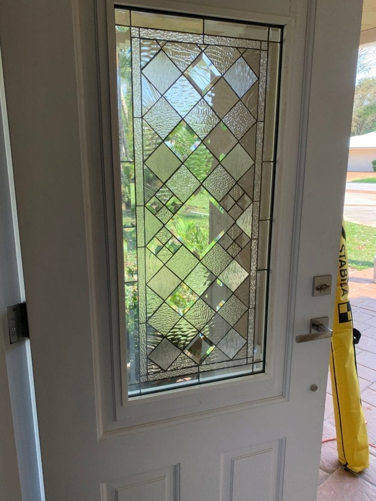 Beautiful Clear Beveled Stained Glass Door Insert