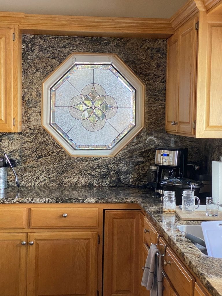 Beautiful octagon Stained Glass Installed in a Kitchen