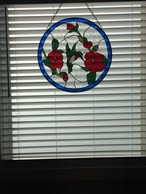 Hummingbird and roses round Stained Glass