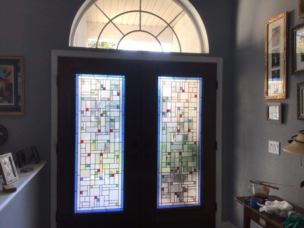 Stained Glass Door Insert installed in Front Door