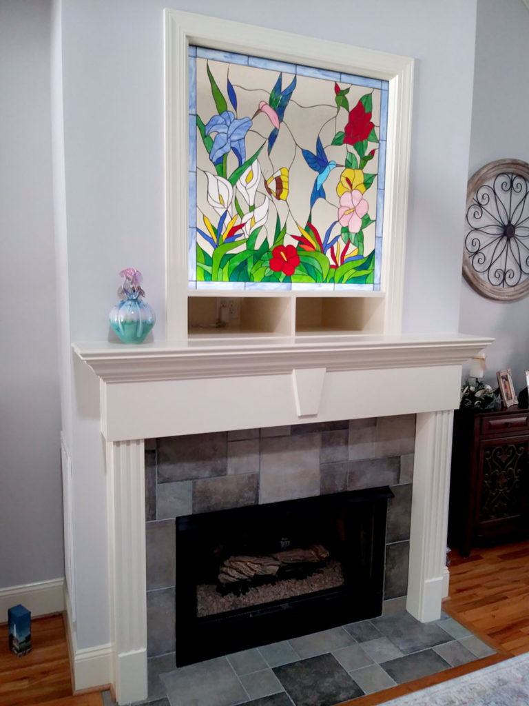Elegant! Hummingbird, Butterfly & Flowers Leaded Stained Glass Window Panelinstalled over a chimney